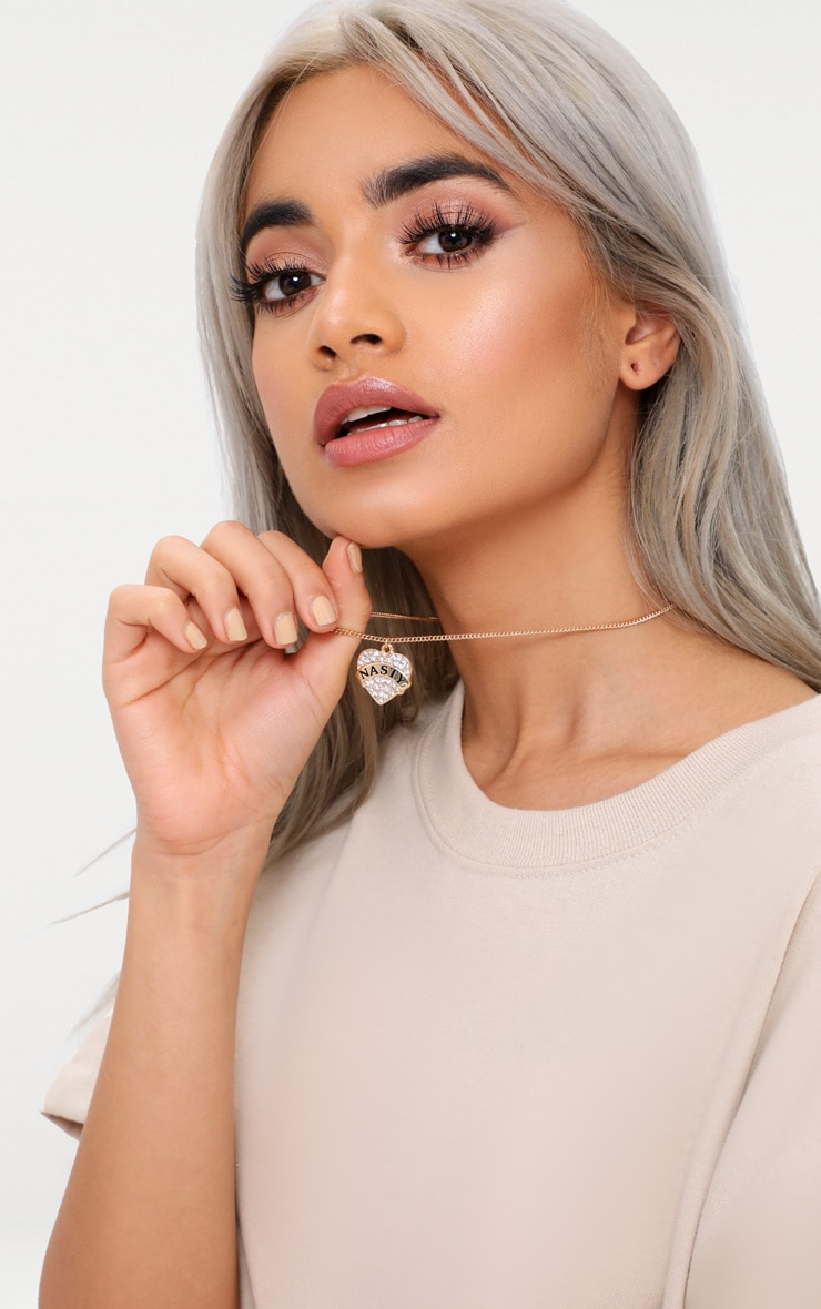 Gold Diamante Nasty Slogan Heart Pendant Necklace 2