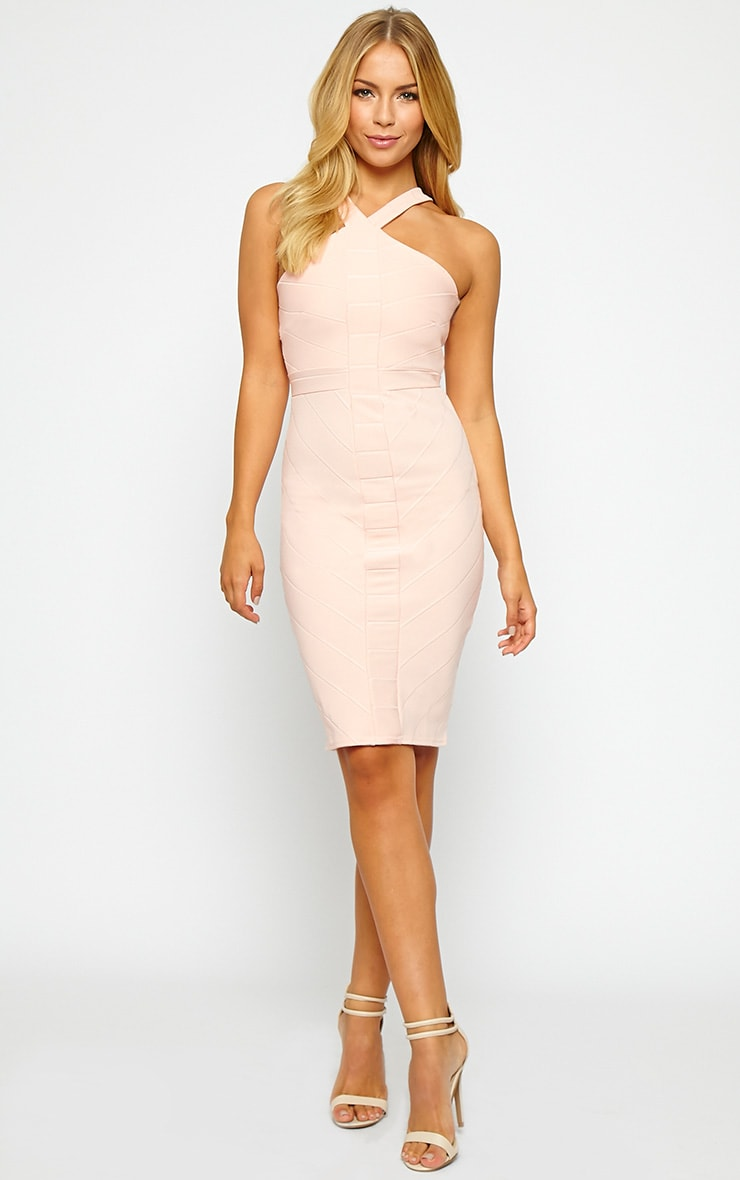 Becka Nude Cross Front Bandage Dress 3