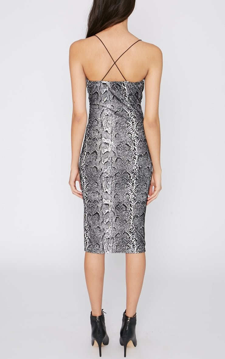 Babita Velvet Glitter Snake Print Midi Dress  2