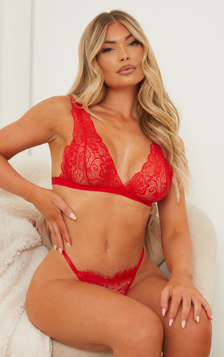 Red Basic Lace Bralet 1