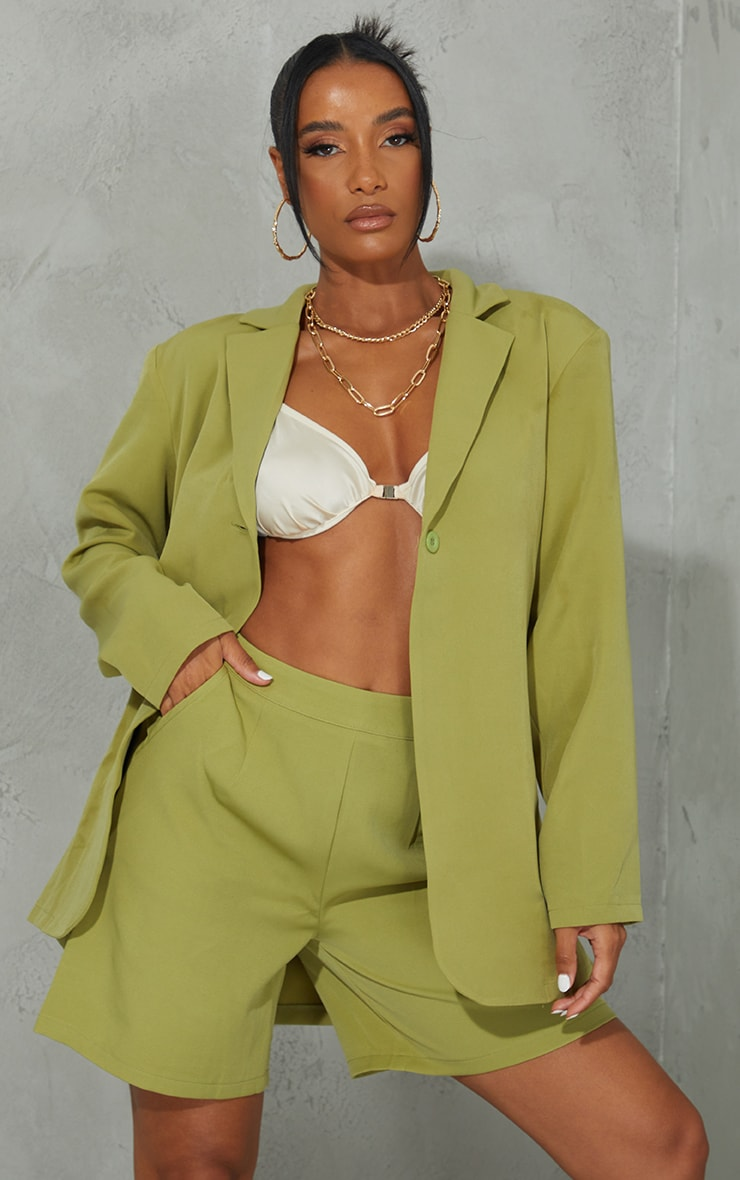 Olive Woven Button Detail Blazer 1