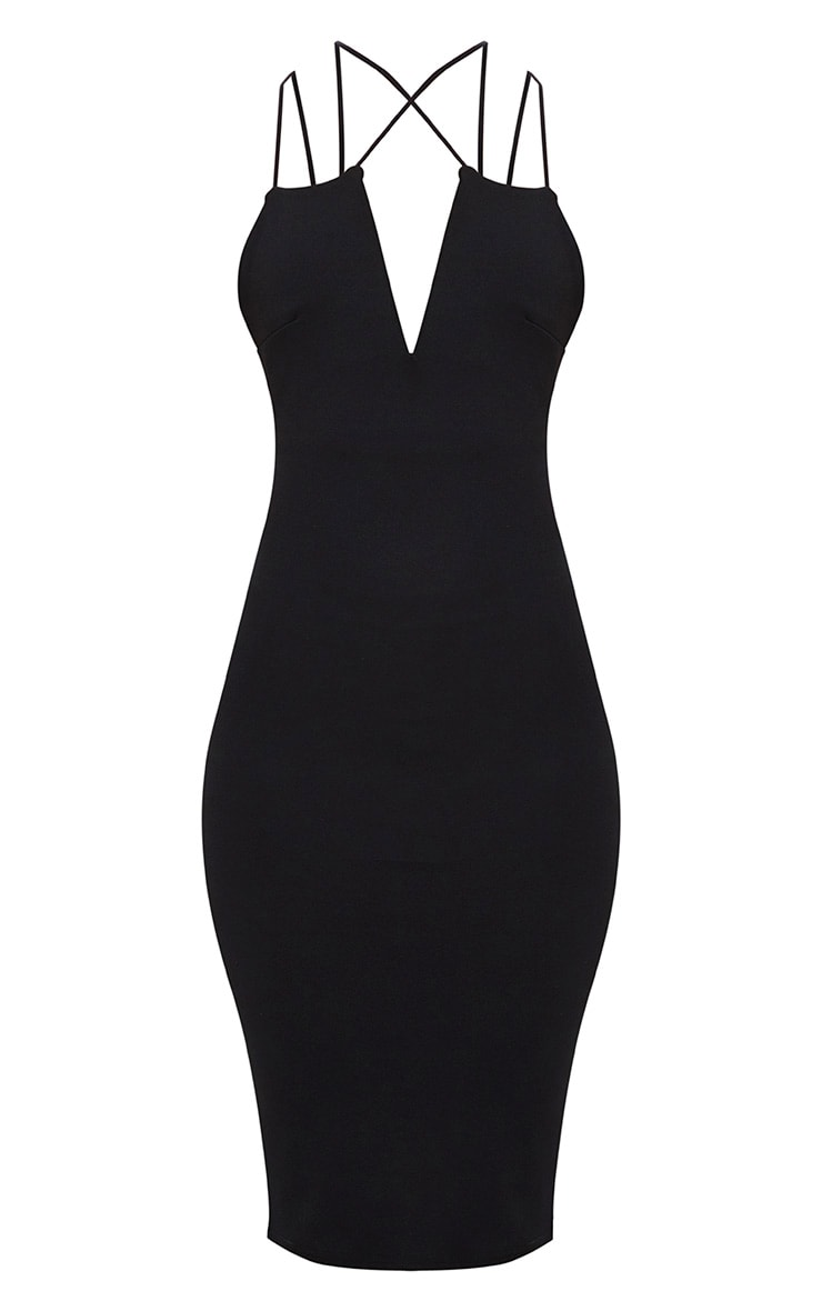 Black Cross Front Strappy Back Plunge Front Midi Dress 3