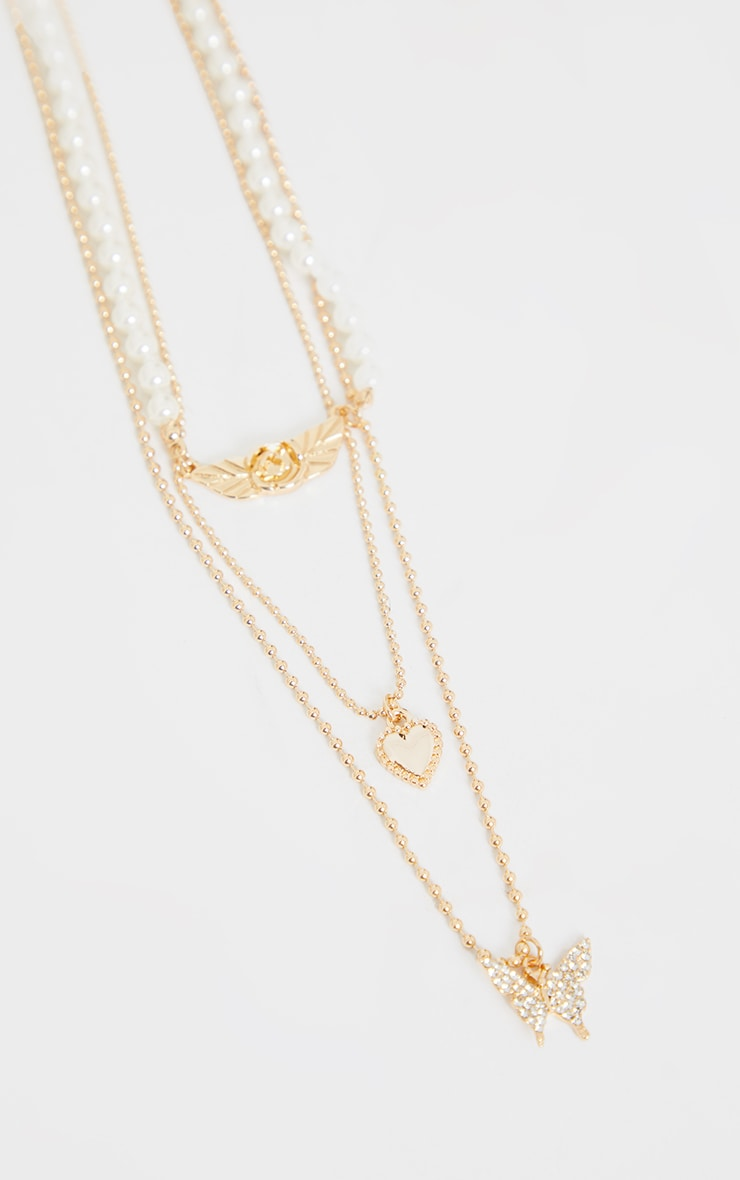 Gold Dainty Chain And Pearl Layering Necklace 4