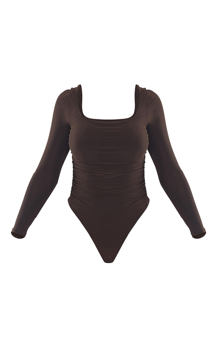 Chocolate Slinky Ruched Long Sleeve Square Neck Bodysuit 5