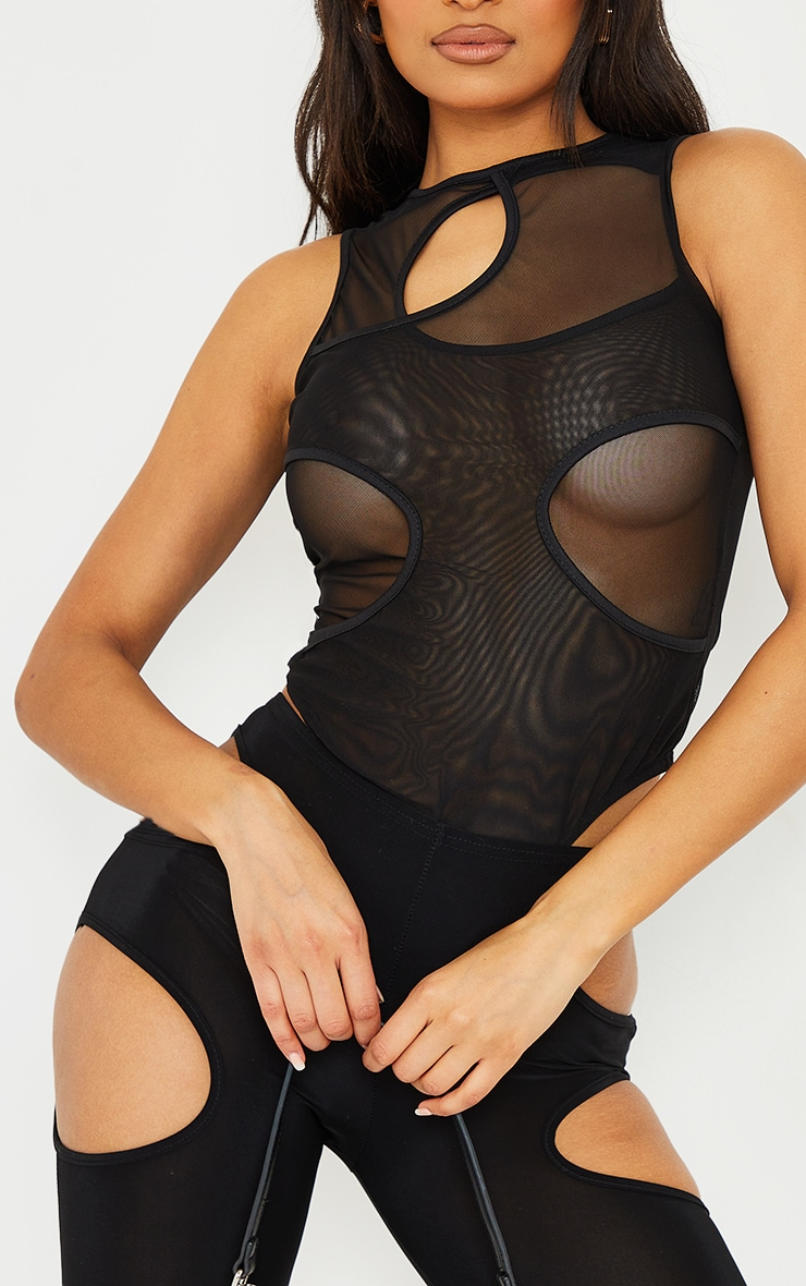 Black Mesh Overlay Cut Out Detail Sleeveless Bodysuit 4