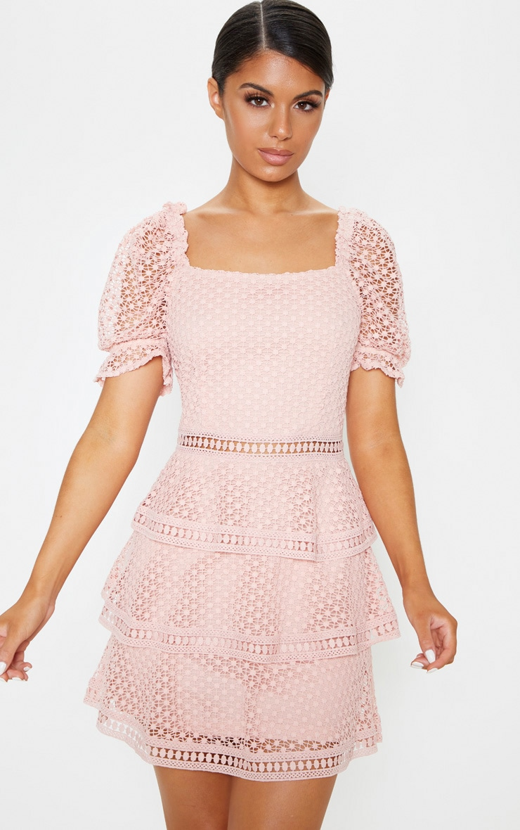 Dusty Pink Square Neck Puff Sleeve Tiered Lace Dress