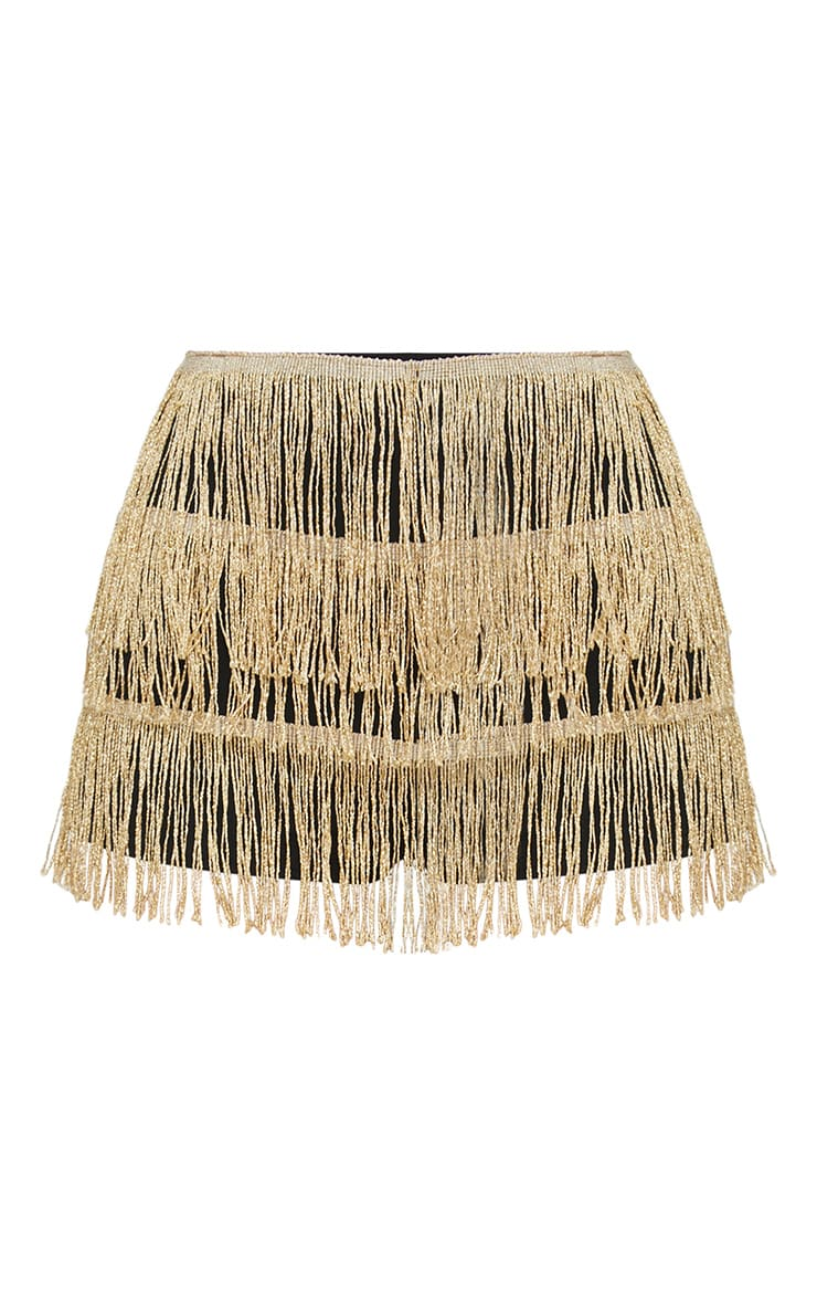 Gold Tiered Fringe Shorts 3