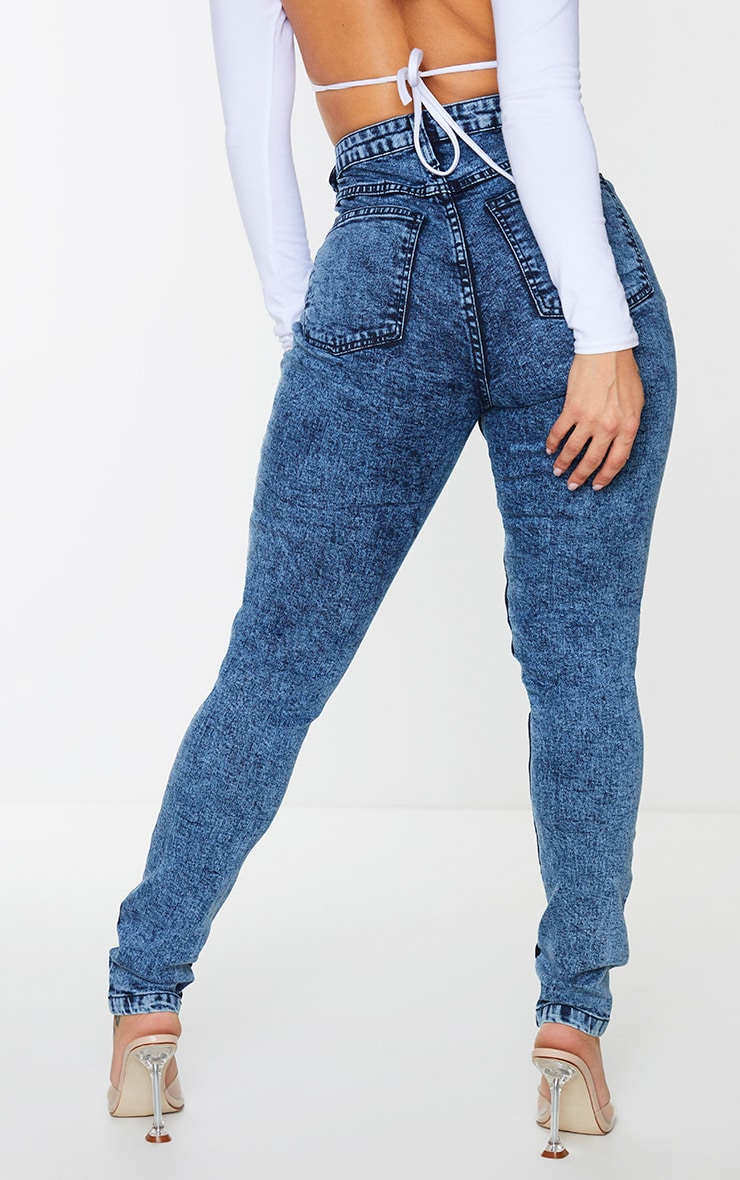 Shape Acid Blue Wash Seam Detail Pocket Skinny Jeans 3