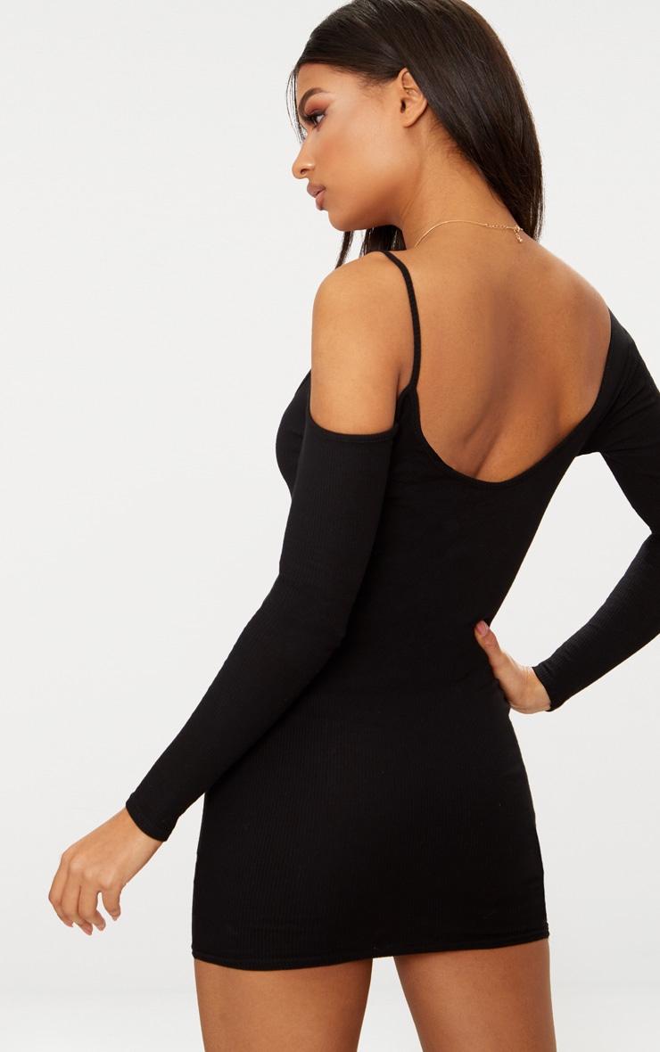 Black Rib One Shoulder Bodycon Dress 2