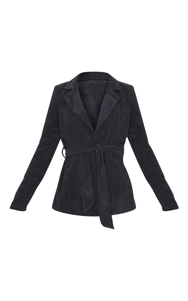 Black Cord Tie Waist Blazer Jacket  3