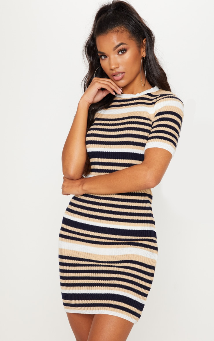 Cream  Striped Knitted Short Sleeve Dress 1