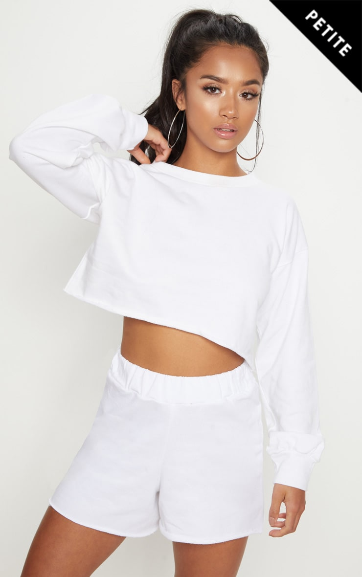 Petite White Raw Edge Cropped Sweater image 1 8df48a434