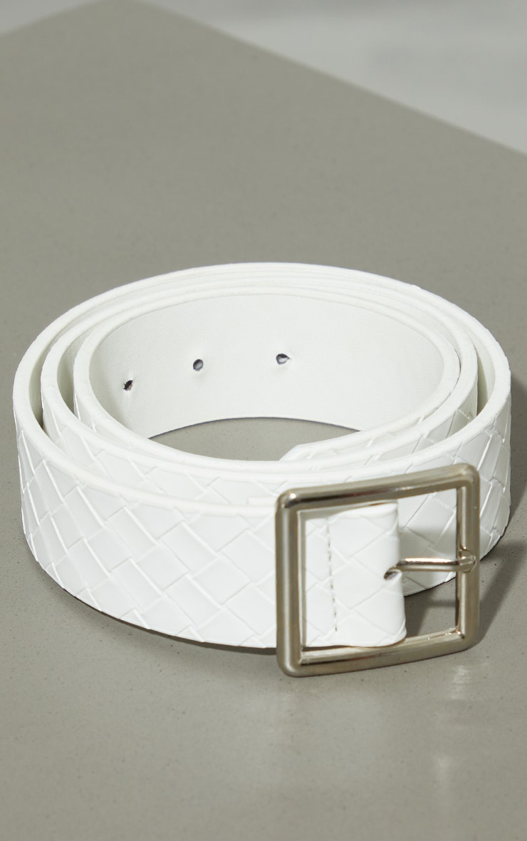 White Plait Square Buckle Waist Belt 1