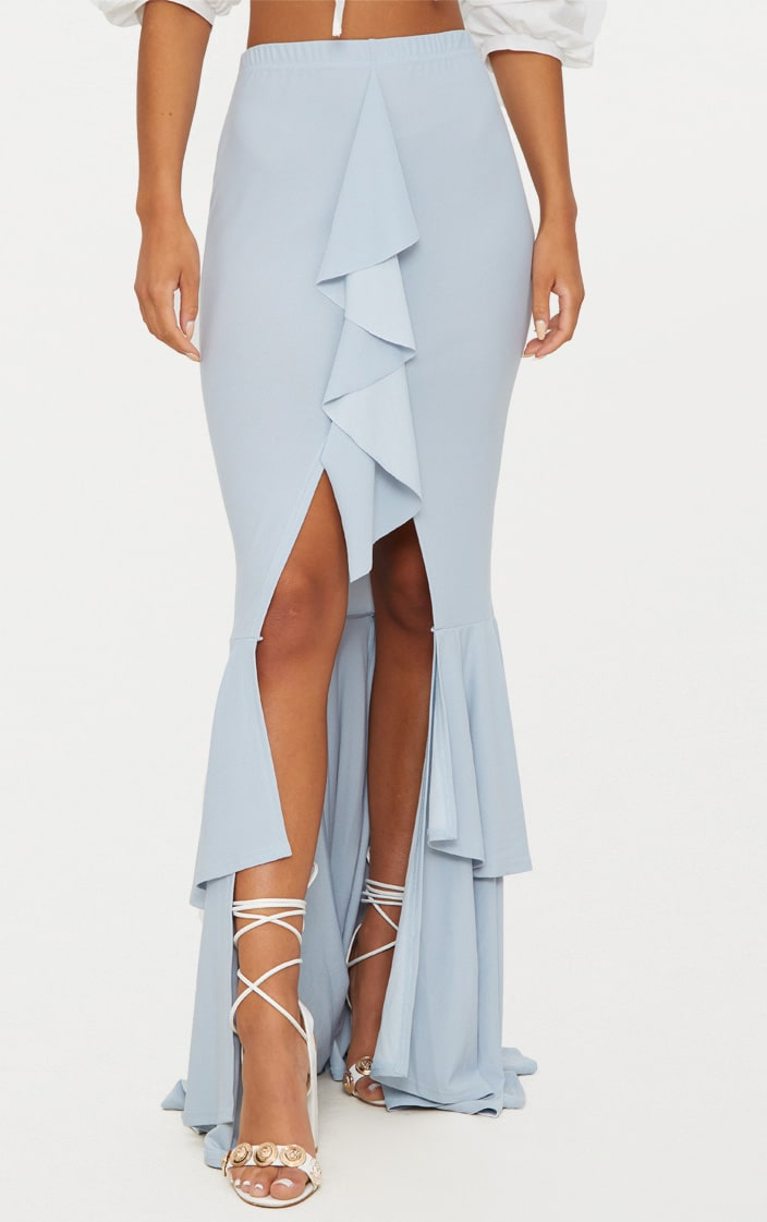 Pale Blue Frill Occasion Skirt 2