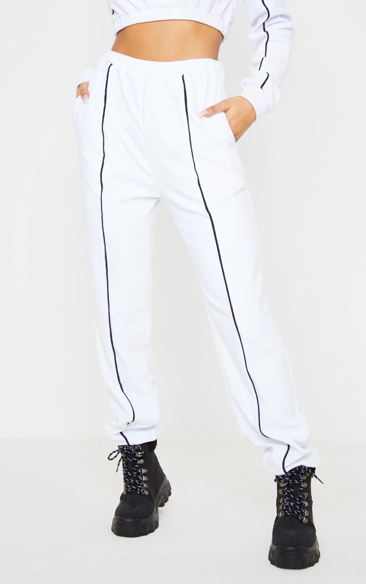 White Velour Contrast Stripe Jogger 2