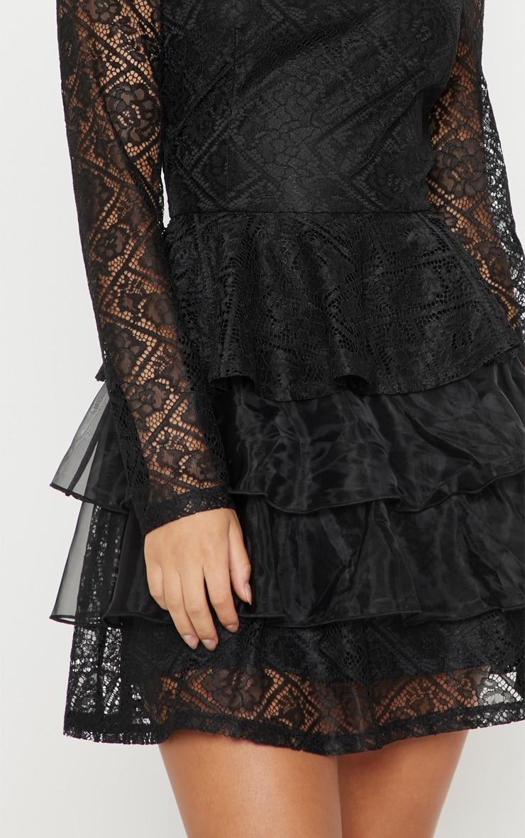 Black Lace Tiered Dress Dresses Prettylittlething Usa
