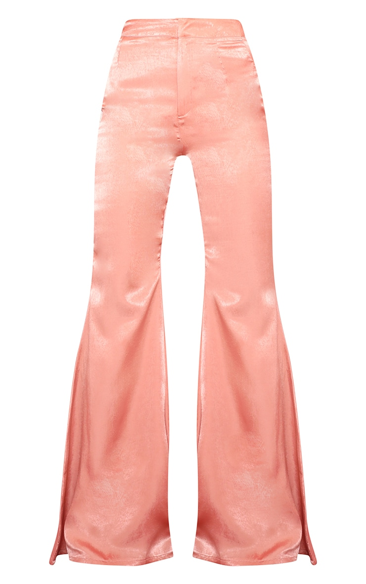 Peach Satin High Waisted Flare Leg Pants 3