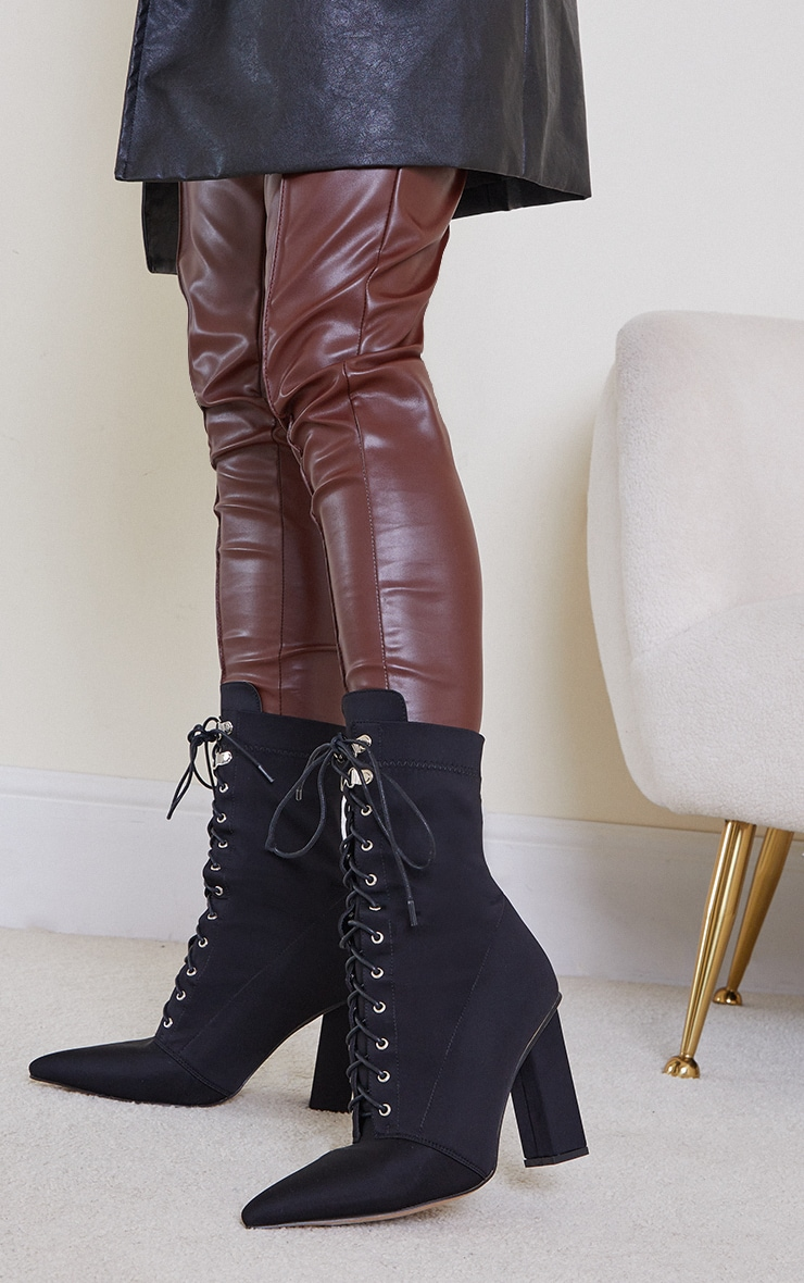 Black Lycra Lace Up Pointed Toe Block Heel Sock Boots 2
