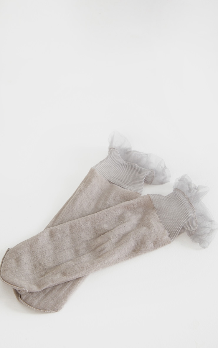 Light Grey Sheer Frill Socks 2