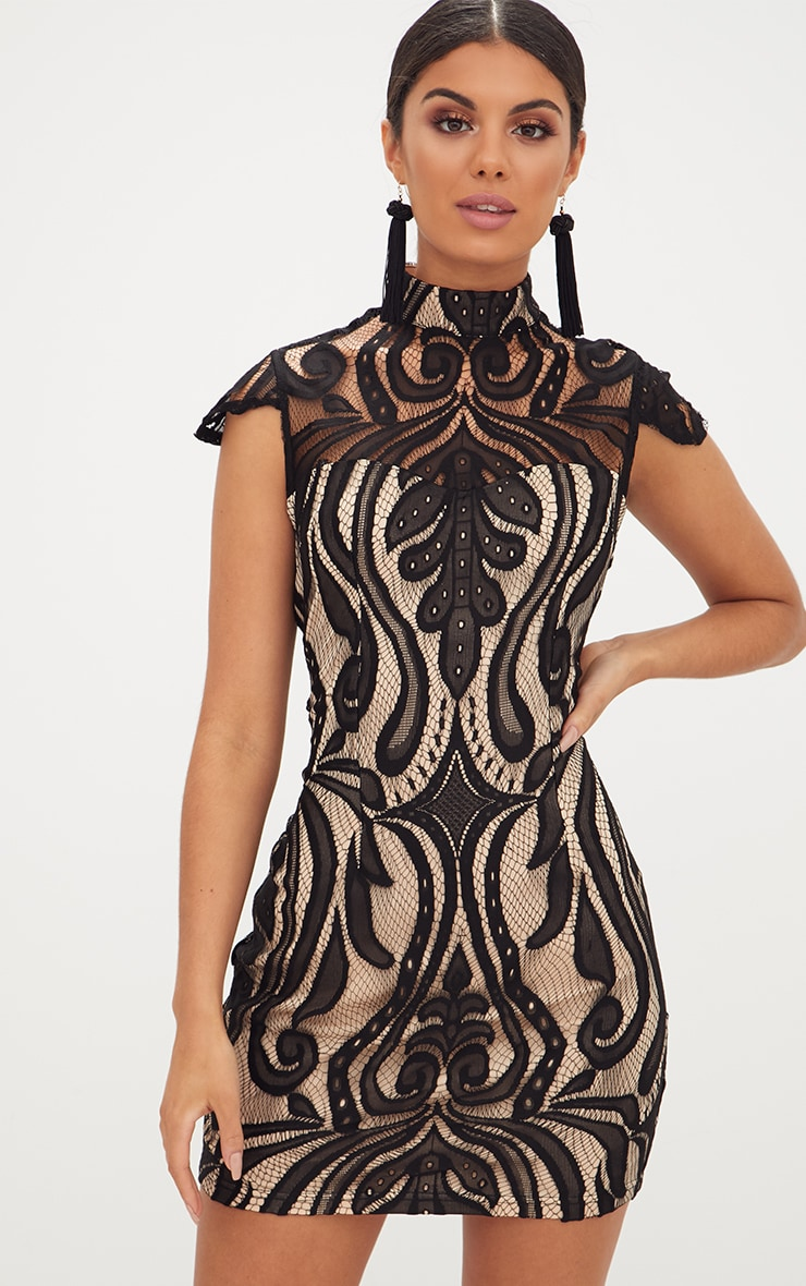 Black Lace Cap Sleeve Bodycon Dress 1