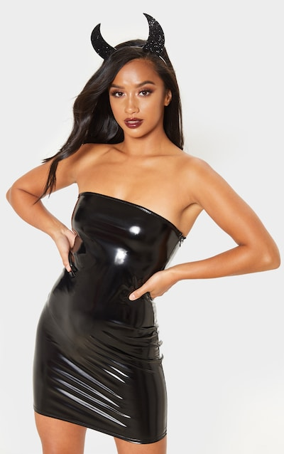 Petite Black Vinyl Mini Dress