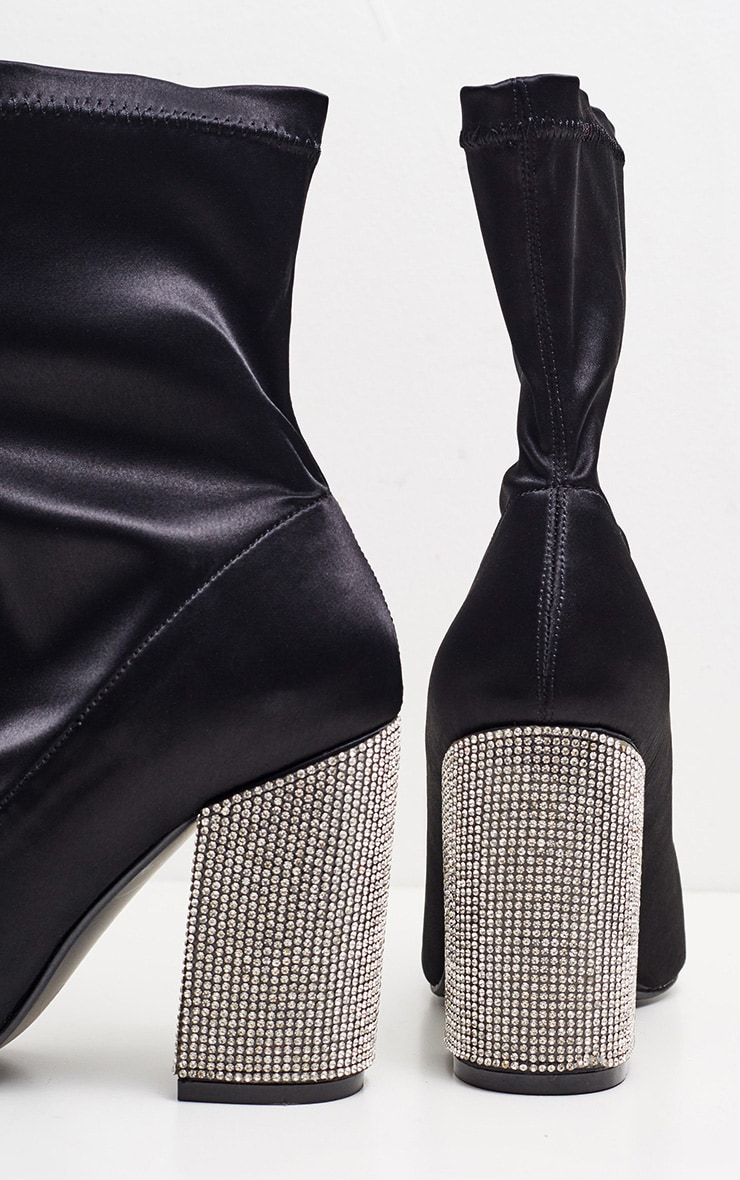 Black Lycra Diamante Heel Sock Boot 3