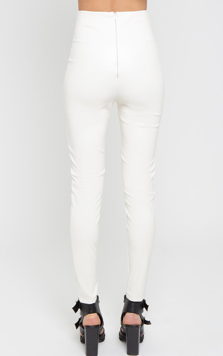Nisha White Lace Front Leather Trouser 2
