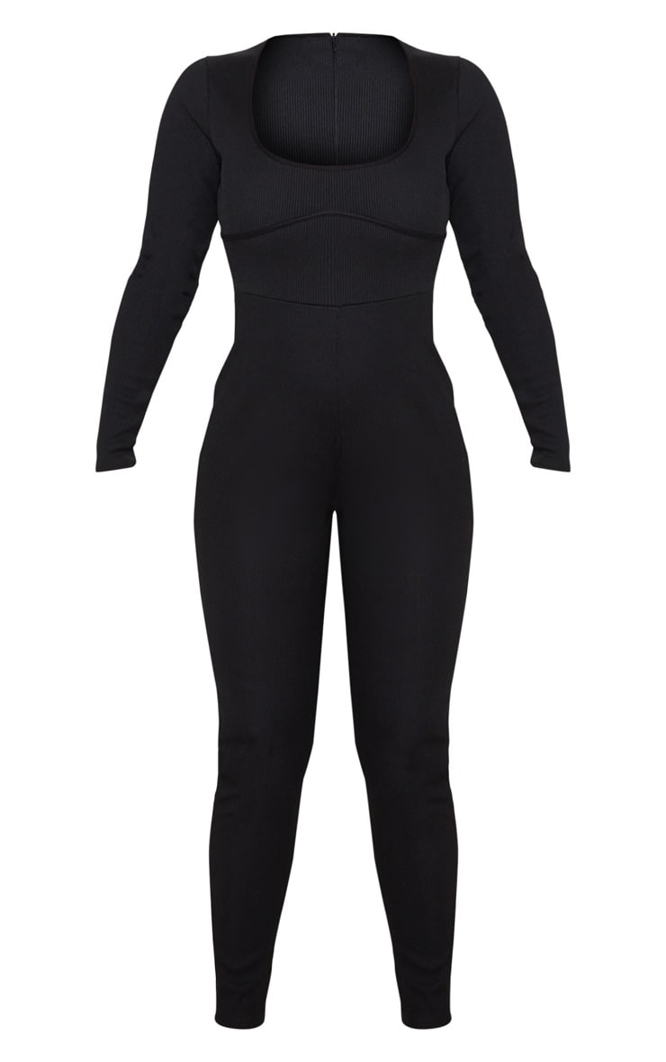 Black Long Sleeve Ribbed Piping Detail Jumpsuit 3