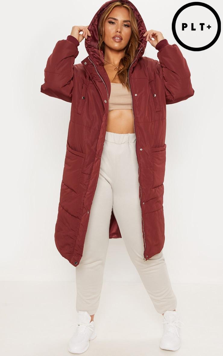 Plus Burgundy Longline Puffer Coat
