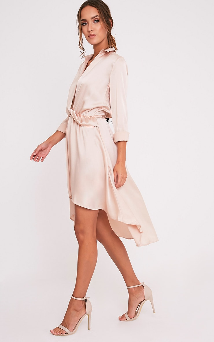 Gabbie Champagne Silky Wrap Over Midi Dress 5