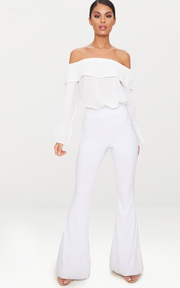 White Chiffon Frill Detail Bardot Top  4