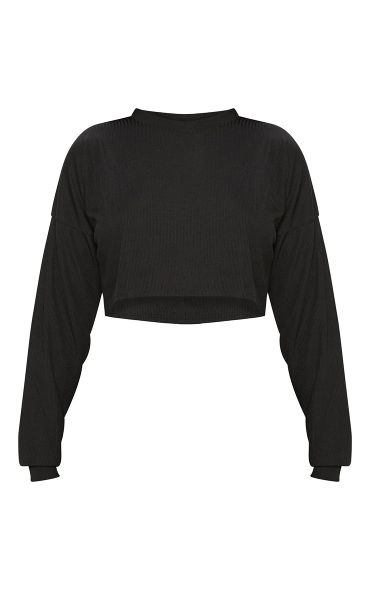 Shape Black Ribbed Long Sleeve Extreme Crop Top 3