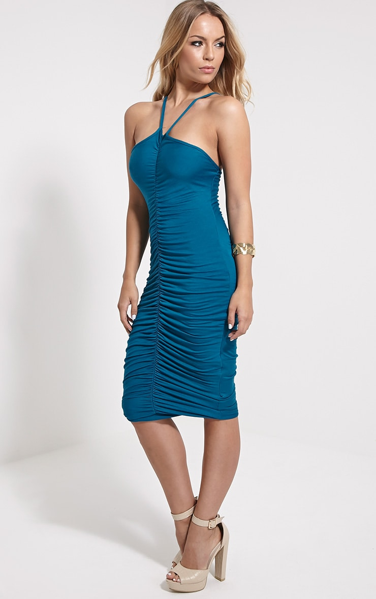 Tarina Teal Ruched Front Midi Dress 1