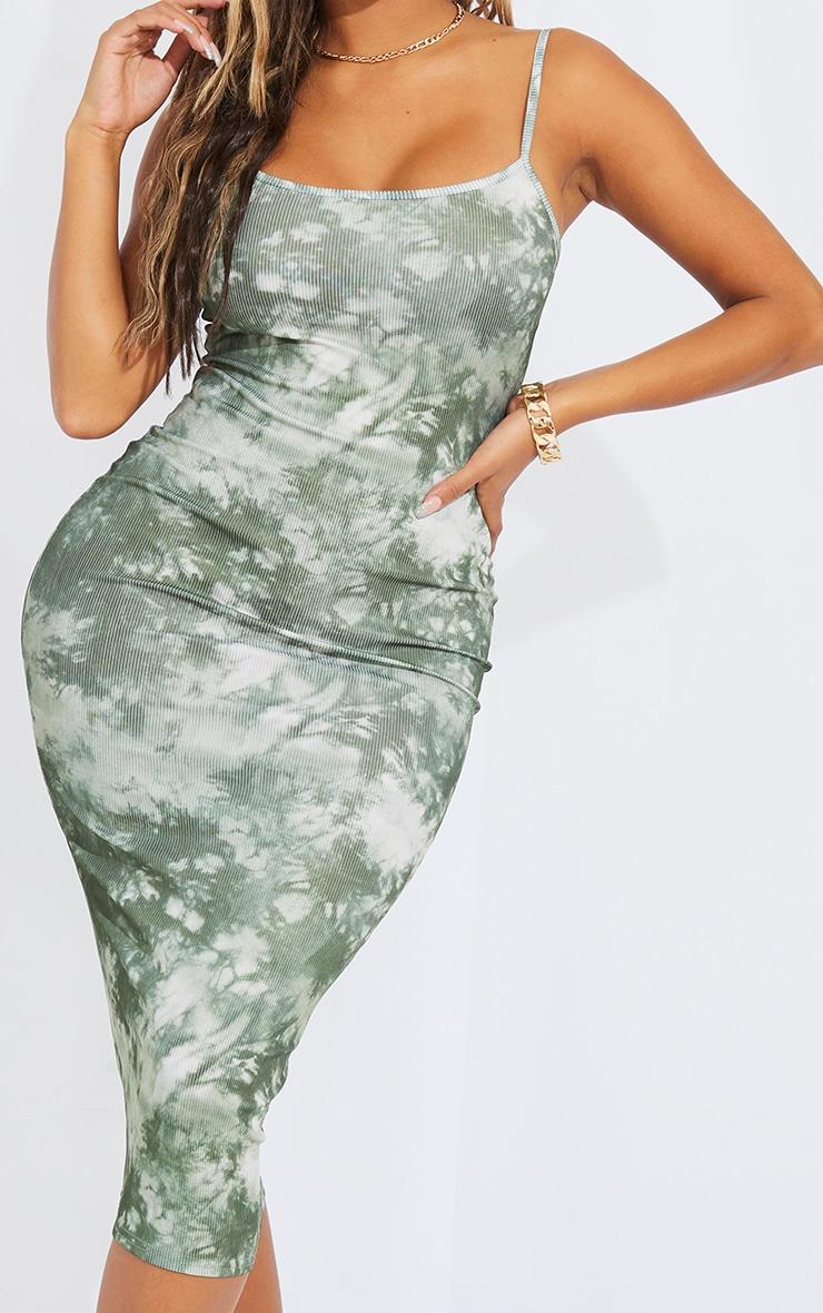 Shape Khaki Tie Dye Rib Strappy Midi Dress 4