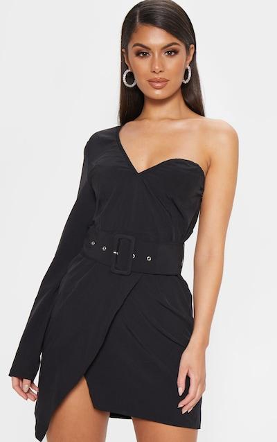 5e7ffa024d1 Black One Shoulder Belted Bodycon Dress