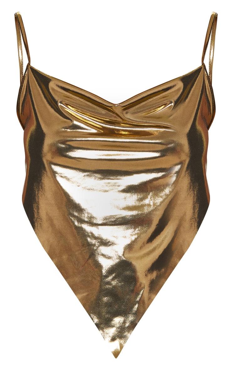 Gold Metallic Handkerchief Crop Top 3