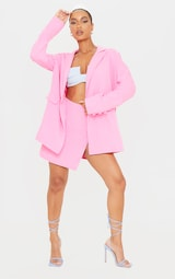 Candy Pink Woven Button Front Mini Suit Skirt 1