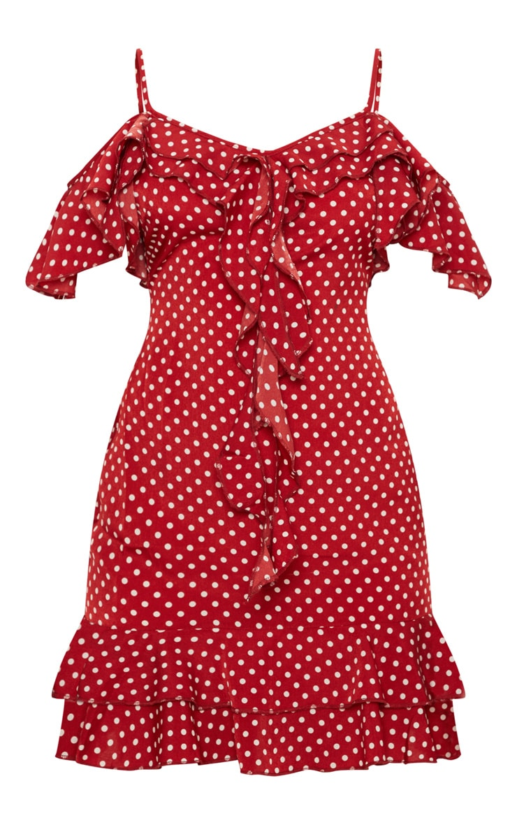 Red Polka Dot Frill Cold Shoulder Bodycon Dress 3