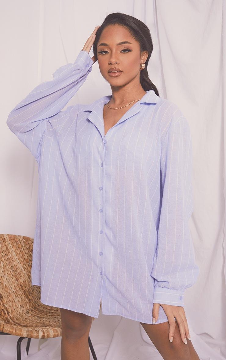 Blue Wide Stripe Cotton Oversized Nightshirt With Scrunchie 5