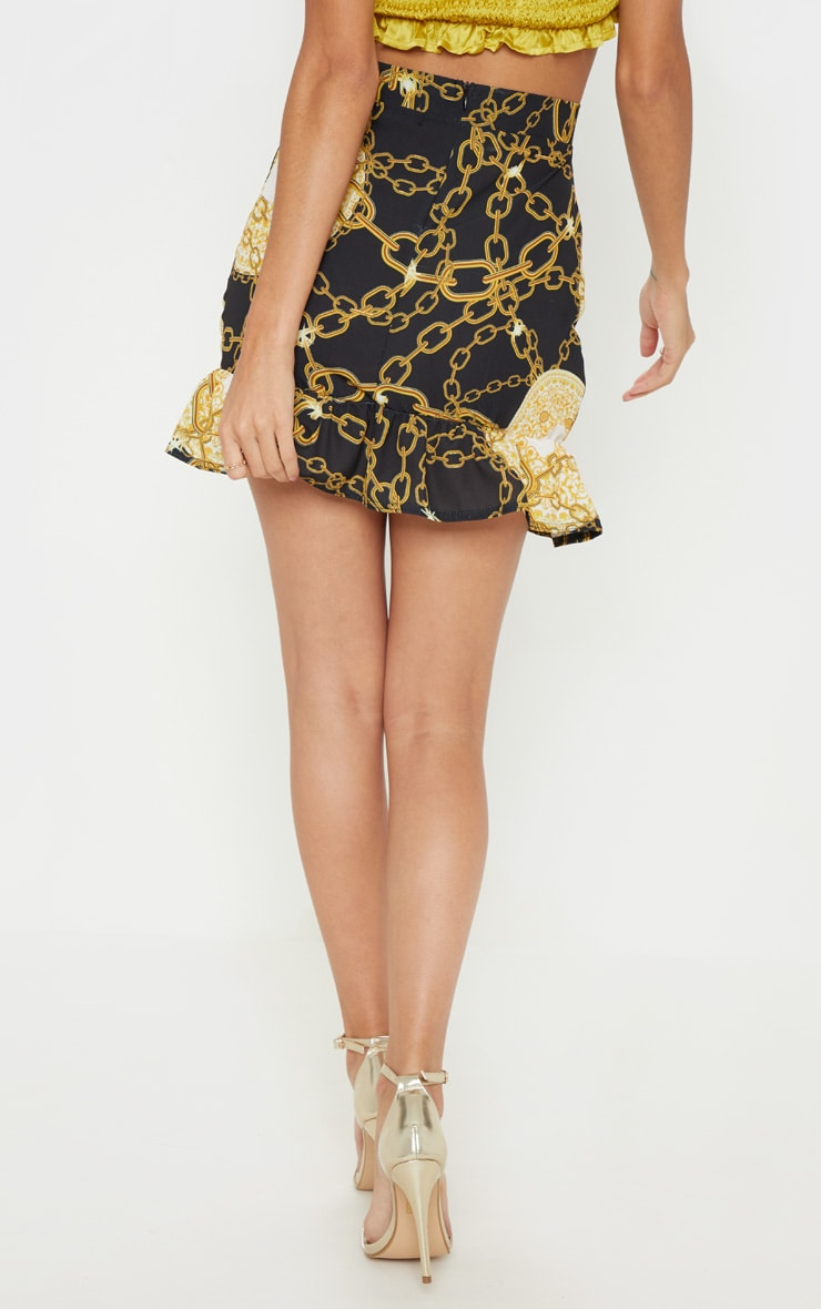 Black Chain Printed Frill Hem Wrap Mini Skirt 4