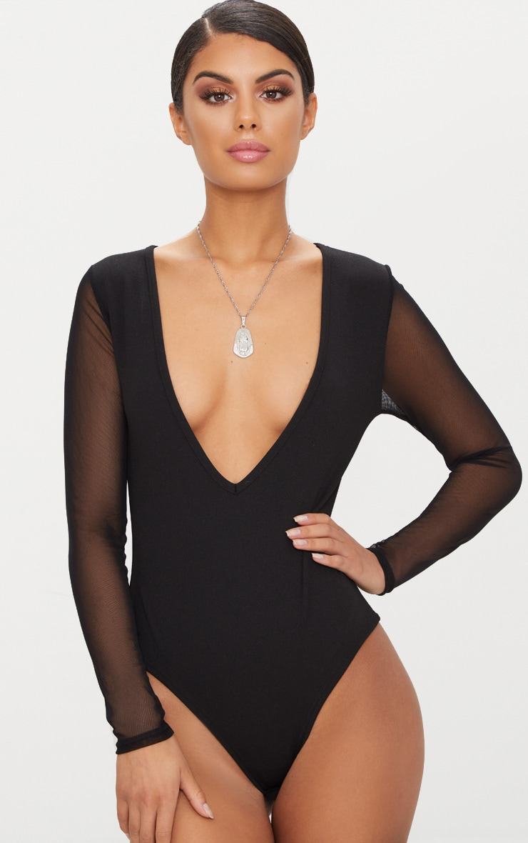 Black Mesh Sleeve Plunge Thong Bodysuit  1
