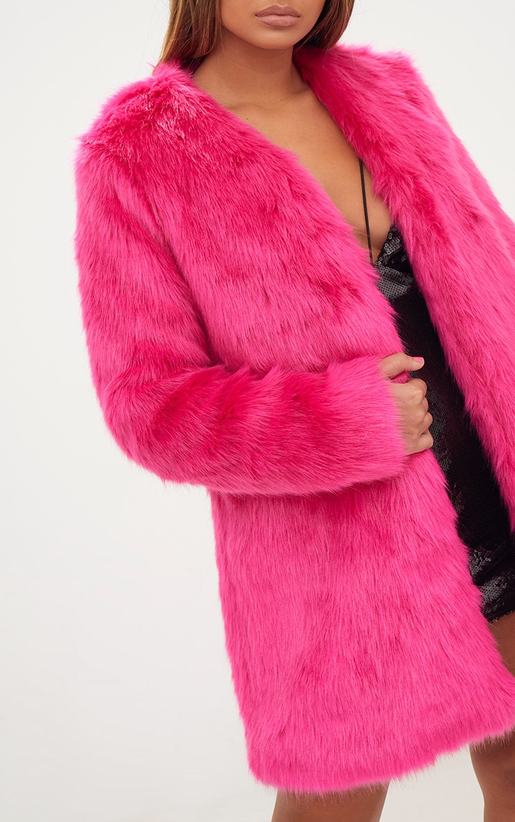 Fuchsia Faux Fur Coat 5