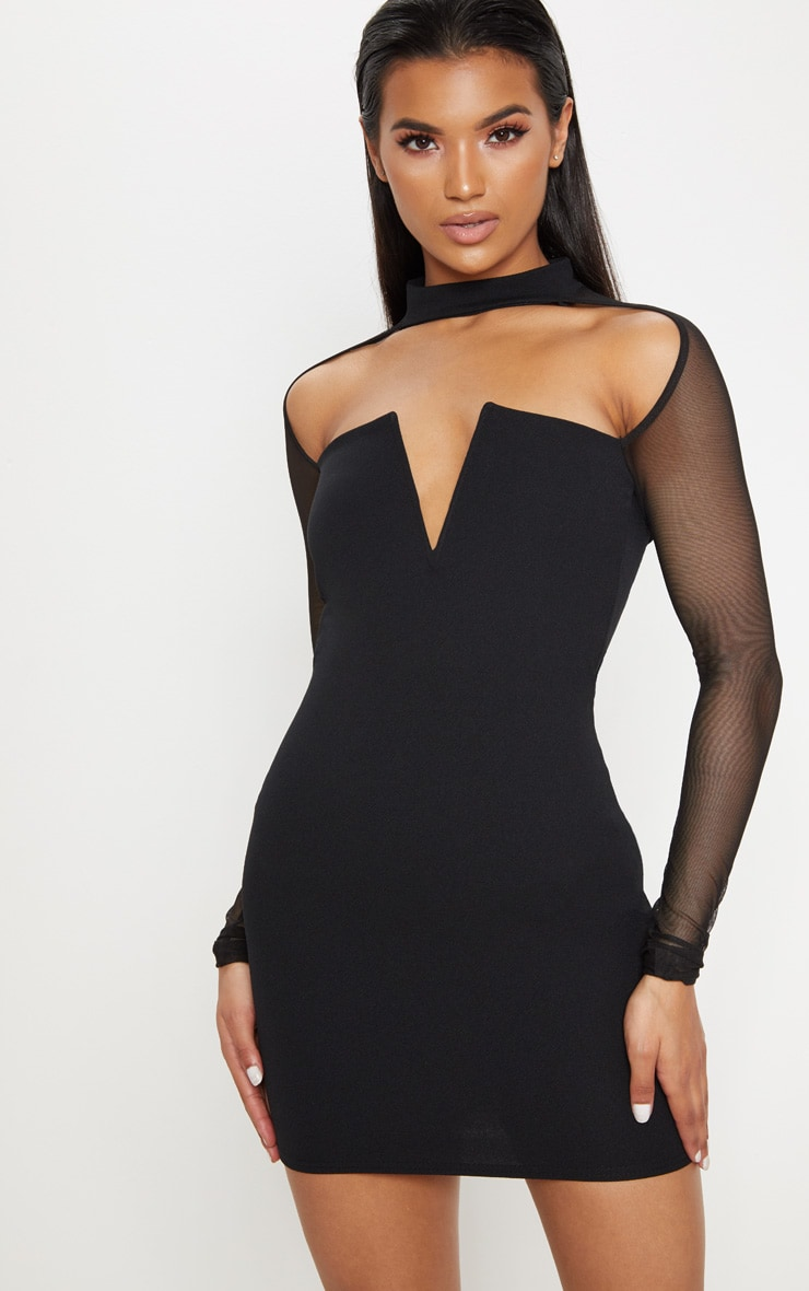 Black Choker Neck Mesh Sleeve V Plunge Bodycon Dress 1