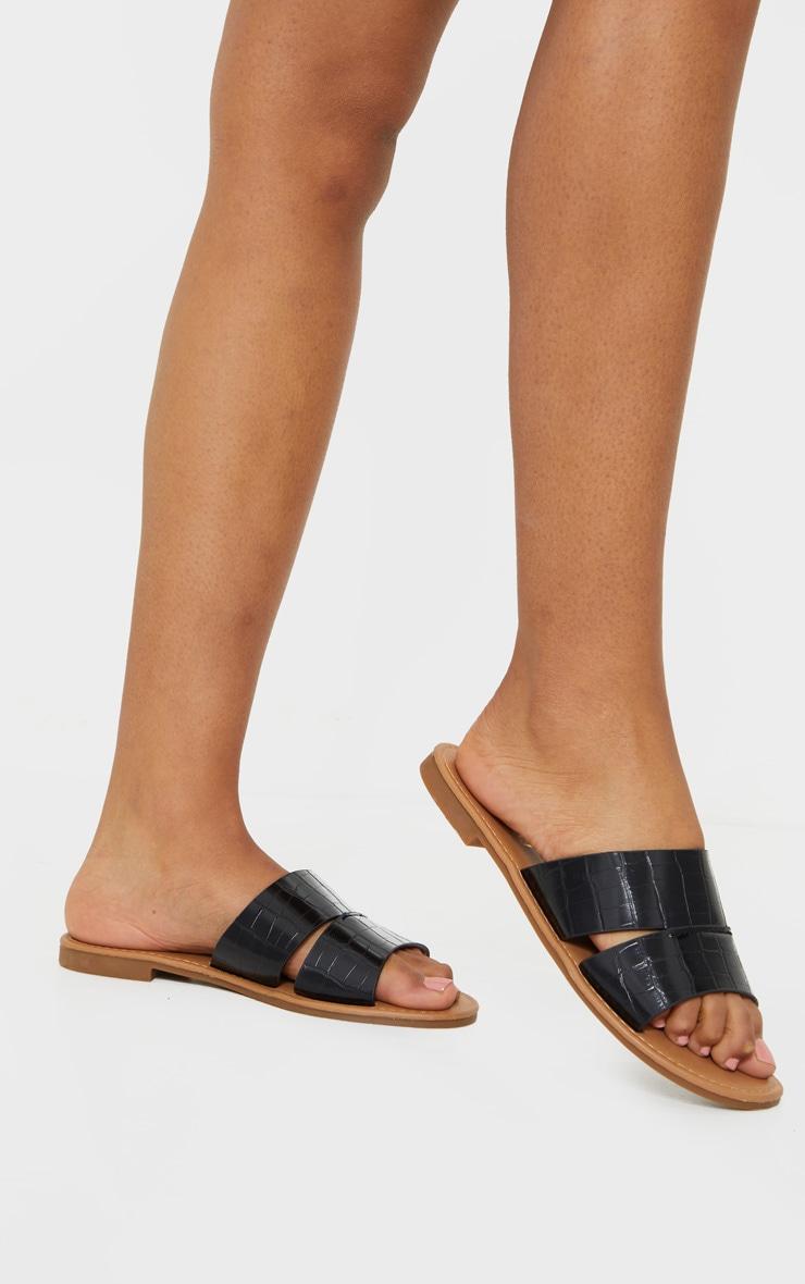 Black Croc Wide Fit Double Strap Mule Flat Sandal 2