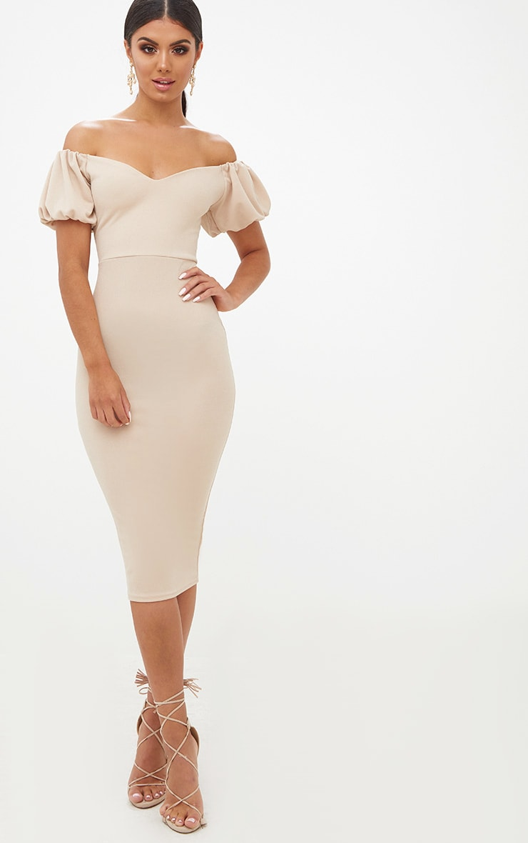 Stone Balloon Sleeve Bardot Midi Dress Pretty Little Thing Outlet Cheap Price zUTC2JwU