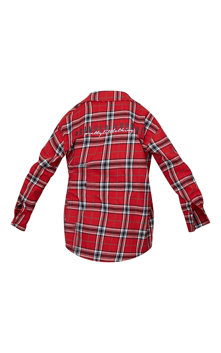 PRETTYLITTLETHING Red Back Print Checked Oversized Shirt 5