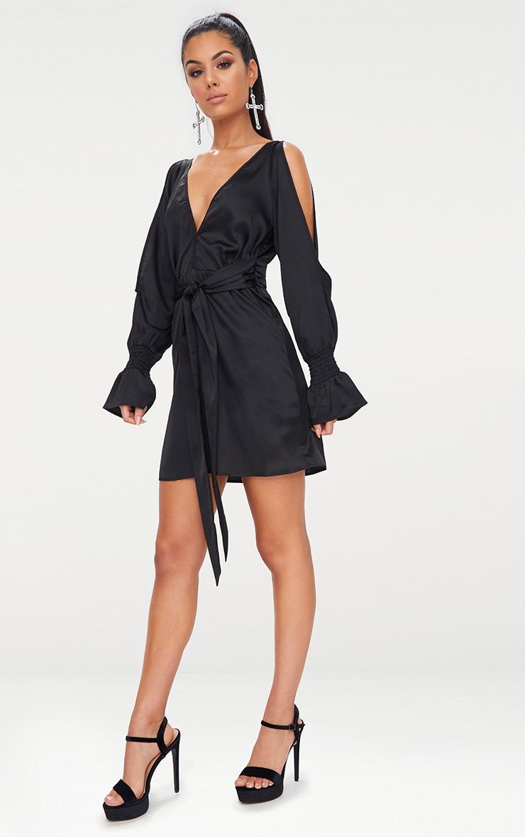 Black Satin Cold Shoulder Plunge Bell Cuff Bodycon Dress 4