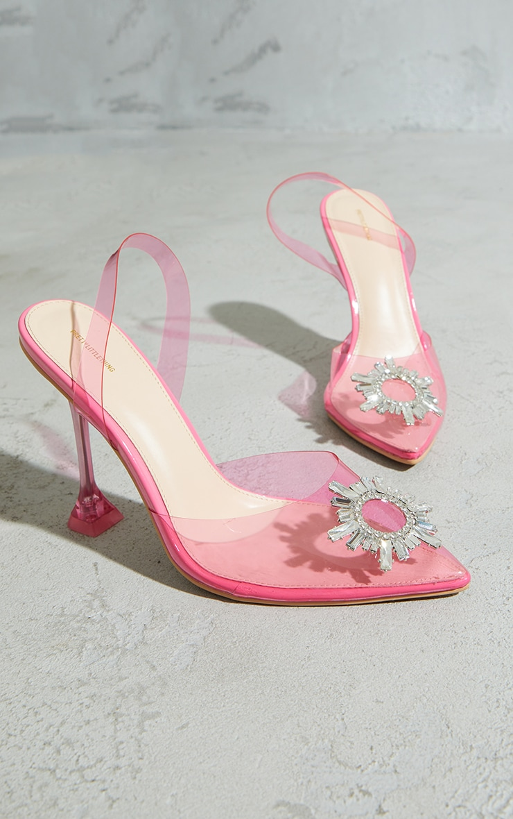 Pink Clear Diamante Sling Back Cake Stand High Heels 3