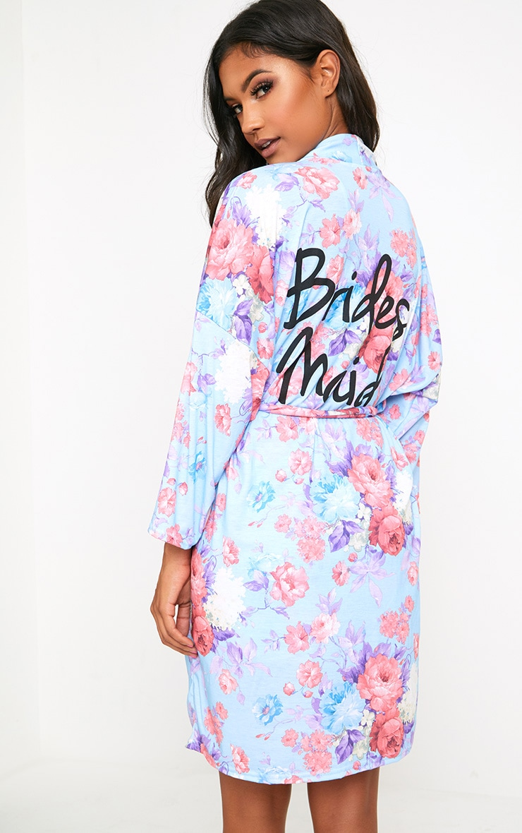 Robe de chambre bleue à fleurs Bridesmaid 2
