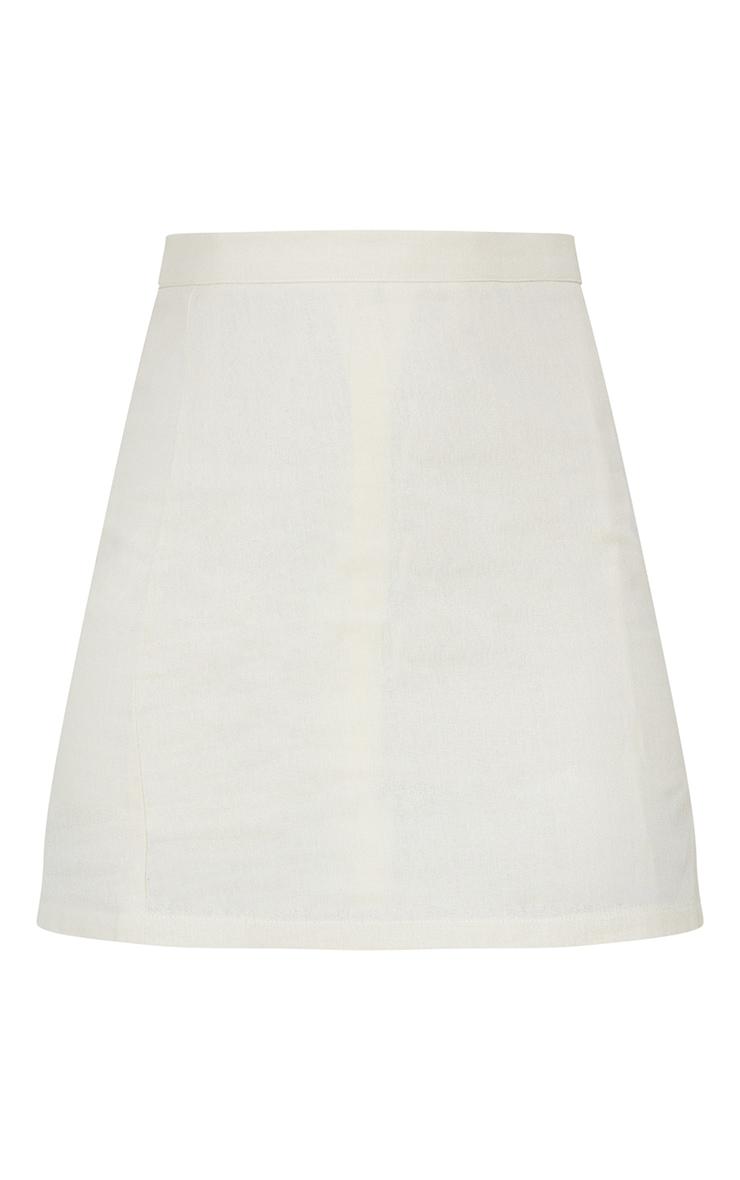 Stone Linen Look Split Hem Mini Skirt 6